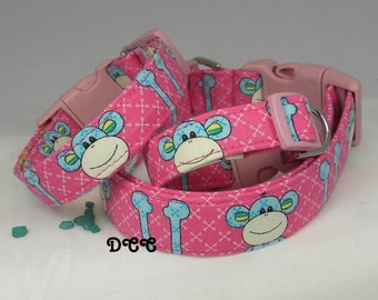 Dog Collar  Monkey Business Pink Blue White Stripe Stripes CHOOSE SIZE Adjustable Dogs Collars D Ring Accessories Pet Pets