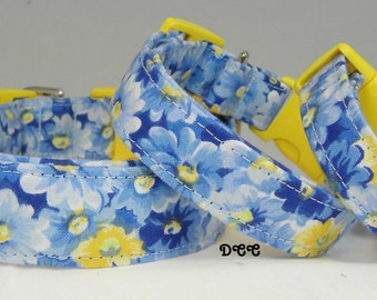 Dog Collar Bold Blue and Yellow Floral Flowers Everyday Fun No Bow Adjustable Dog Collars w D Ring Choose Size Stripe Pet Pets Accessories