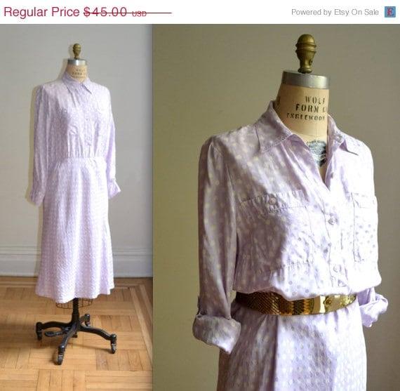 ON SALE 50% OFF Vintage 90s Polka Dot Silk Shirt Dress// Pastel Purple Polka dot Dress, Size Medium