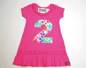Girls Birthday Dress, Dark Pink Short Sleeve Ruffle Knit Tunic, 1st 2nd 3rd 4th 5th 6th 7th Birthday, Applique Number Dress, 1 2 3 4 5 6