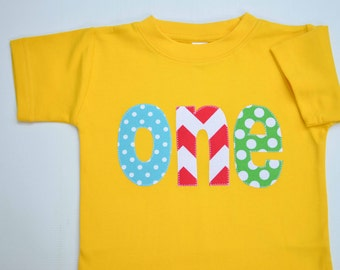 Ready to Ship Size 18m Primary Color Boys First Birthday Shirt, First Birthday Tshirt, Applique Tee Circus Birthday Party Size 12-18m