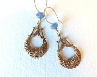 Genuine Victorian Brass Pieces with Sky Blue Sapphires on Gold Filled Wire