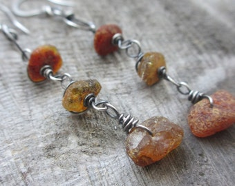 Sale! Leaves on the wind - Amber and sterling silver earrings