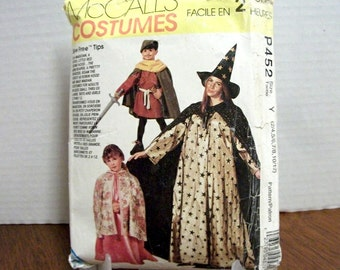UNCUT McCall's p452 (also published as 6680, 2854 and p206) pattern for childrens boys and girls easy cape and tunic costumes in sizes 2-12