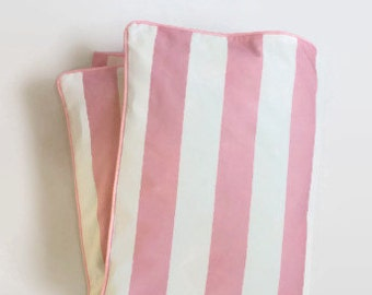 Large Stripe in Pink and White Toddler Duvet - Pink and White Stripe - Crib Duvet - Coastal Baby - Preppy Baby
