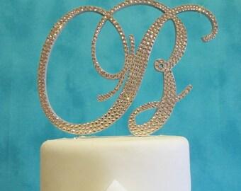 Custom handmade Swarovski Crystal Monogram Cake Toppers - wedding cake topper
