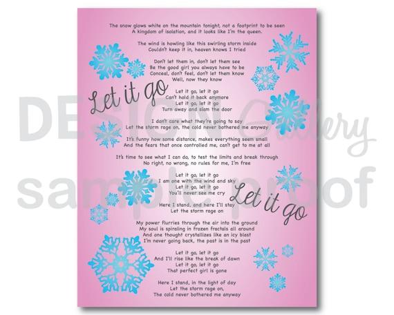 Items similar to let it go song lyrics diy printable instant items similar to let it go song lyrics diy printable instant download on etsy stopboris Gallery