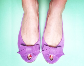 Ballet Flats Shoes Handmade Radiant Orchid Leather Peep Toe with Bow