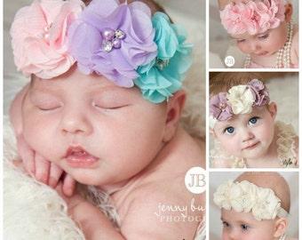 CHOOSE COLOR Baby Headbands,Easter Headband,Newborn Headband,Shabbby Chic Flower Headband, Chiffon Baby Headband, Baby Headbands,Hair Bows.