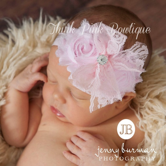 Pink Baby Headband,baby headbands, Newborn Headband, Infant Headband Baby, Girl Headband Baby, shabby chic Headband, Easter Headband.
