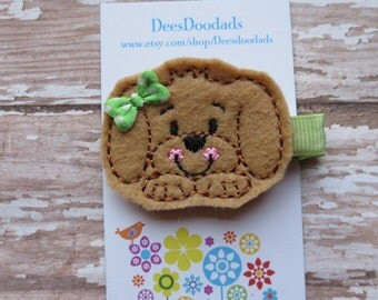 Gus Puppy with Green accents Hair Clip - Feltie Clip - Party Favor