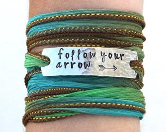 Wrap Bracelet, Follow Your Arrow, Bohemian Jewelry, Arrow Jewelry, Arrow Bracelet, Boho, Boho Jewelry,Silk Wrap Bracelet,Boho Wrap Bracelet