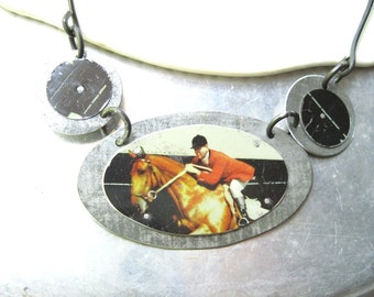 Tin Necklace , Equestrian Vintage Tin Necklace, Handmade Steel Chain, Horse and Rider Necklace- Toffee Can Jewelry