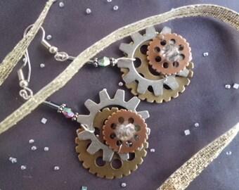 Gear Earrings, Wearable Steampunk Earrings, Time Traveler Gear Earrings, Industrial Chic Earrings, Gearrings, Mixed Metal Earrings
