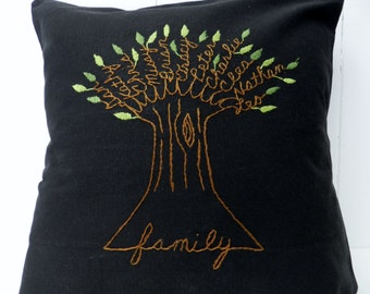 Family Tree Personalized Pillow Cover. Mother of the Bride Personalized Gift. Black Fabric. Wedding Anniversary. Parents Anniversary Gift.