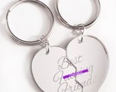 Best F-cking Friends - Friendship Key Ring Key Chain Set - Silver Split Heart