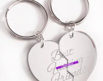 Best F-cking Friends - Friendship Key Ring Key Chain Set - Silver Split Heart