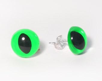 Neon Green Kitty Eye Earrings