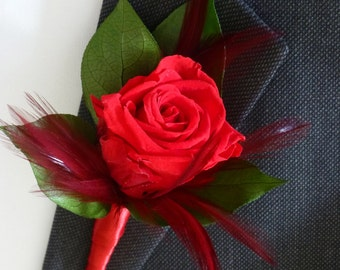 Boutonniere - ELEGANT ROMANCE - Groom's Boutonniere - Wedding boutonniere, Preserved Flowers - Preserved rose boutonniere - Wedding Flowers