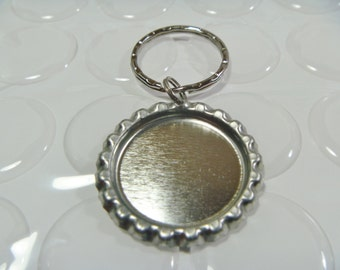 Bottle cap Supplies-100 flattened bottle cap key chains, key rings with 100 epoxy resin stickers-Priority Mail Shipping