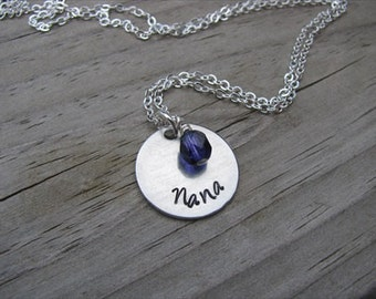 "Grandmother's Necklace- Hand-stamped ""Nana"" with a birthstone or an accent bead in your choice of colors"
