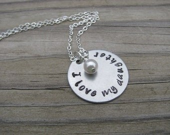 "Daughter Necklace ""I love my daughter"" with an accent bead of your choice"
