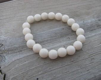 Girls Bracelet- Beaded Children's Jewelry- Cream