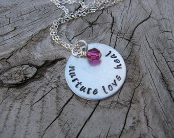 """Gift for Nurse- Inspiration Necklace- """"nurture love heal"""" with an accent bead in your choice of colors- Hand-Stamped Jewelry"""