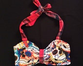 Halter Bikini Top, Sugar Skull and Plaid XS-XL