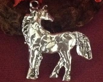SALE 10% off - 1 Super Large Sterling Silver Horse Pendant - 37mm Arabian Horse Charm  AP102