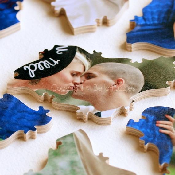 60 piece Wedding Guestbook Puzzle, guestbook alternative, wedding PHOTO puzzle guest book, Bella Puzzles™ modern wedding