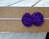 Headband, Baby Headband, Purple Skinny Elastic Shabby Bow Headband, Made to Size
