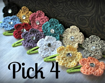 Small Crochet Flower Hair Clips with Rhinestone Centers, Set of 4 of your choice