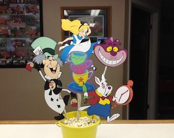Alice in Wonderland Birthday Centerpiece Mad Hatter Party Cheshire Cat