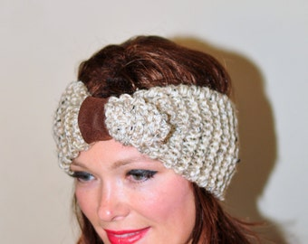 Dolly Headband Earwarmer Buckle Head wrap Crochet Headband Beige Oatmeal Warm Hair Band Button Gift under 25