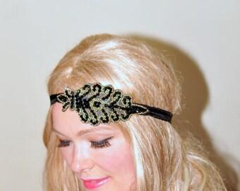 1920's Great Gatsby Beaded Headband Black Gold Women headband Headwrap Stretch Vintage Headband Boho Headband Gift under 25