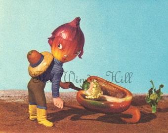 Onion Boy and Red Pepper Cart Vintage Digital Illustration. Digital Download.