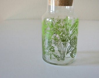 Vintage glass herb apothecary jar