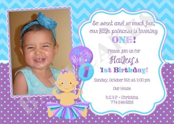 1st Birthday Invitation invite, tutu birthday invitation tutu party purple photo picture