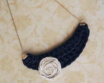 Crochet Bib Necklace - Navy Blue with Rosette