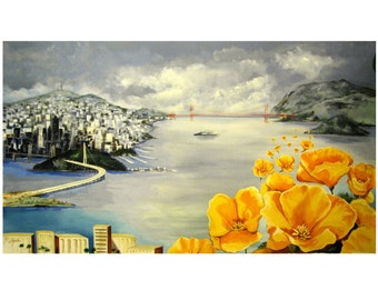 San Francisco The City by the Bay, Aerial Panoramic, Poppies California, Original illustration Artist Print Wall Art, Free Shipping in USA.