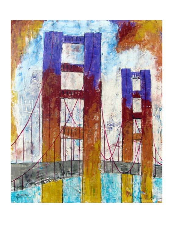 SAN FRANCISCO FREEDOM , Original Limited Edition Artist Print, Large Abstract Poster, 24x30, Free Shipping in Usa.