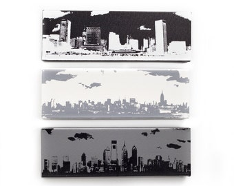 Baltimore, New York, & Philadelphia Skyline Canvas: Monochrome Trio (12 x 4 inches each, Black, White, Gray) City Skyline Home Decor