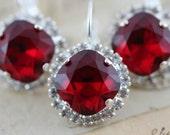 Siam Red Wedding Jewelry Bridesmaids Earrings Christmas Wedding Set of 6 Pairs Silver Valentines Wedding