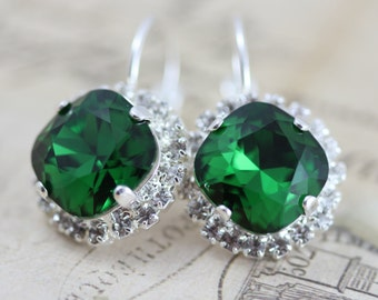 Dark Green Earrings Dark Moss Green Swarovski Crystal Earrings Emerald Bridesmaids Earrings Silver Wedding Dangle Earrings Green Wedding