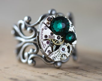Steampunk Ring Emerald May Birthstone Swarovski Crystals Silver Green Ring