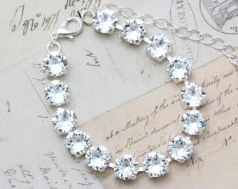Swarovski Crystal Bracelet Clear Bridal Bracelet Bridesmaids Jewelry Silver Bracelet Adjustable Wedding Jewelry Bridesmaids Bracelet