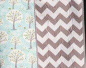 SALE Chevron Backyard Baby Boy Quilt, Windy Day Trees, Aqua Light Blue Grey Gray, Crib Cot Nursery, Bedding, Outdoors Natural