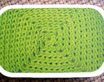 Lime Diamonds: The Crocheter's Tool Tin for your Crochet Project Bag