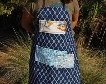 Full Apron - Navy blue, heavy canvas, woman's or men's, bib, Unisex, apron fits medium to plus size